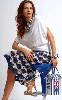 "Вязаная юбка ""По морям, по волнам"".  http://kru4ok.ru/vyazanaya-kryuchkom-yubka/  #аllapetelki#крючок#схема#юбка"
