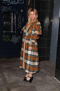 Sienna Miller in Burberry's Plaid Winter Coat