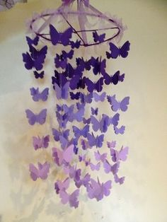 2e93b2276 Nursery decoration mobile 3D butterflies, baby girl room mobile in purple