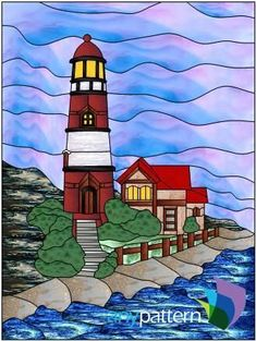 Red Lighthouse Stained Glass Pattern #StainedGlassDrawing
