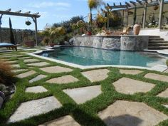 Grass and pavers pool | Grass between pavers | Pool and Patio
