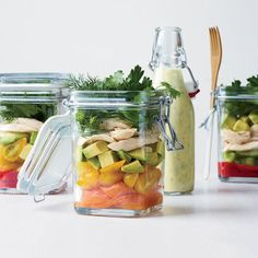 Taking a cue from French verrines, these portable, layered chicken salads could also be assembled in one big glass bowl. Recipe: Layered Chicken Salad with Coriander-Yogurt Dressing Mason Jar Meals, Meals In A Jar, Mason Jars, Glass Jars, Clear Glass, Lunch Box Recipes, Salad Recipes, Lunch Ideas, Picnic Recipes