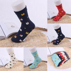 5 Color Cute Cat Face Socks