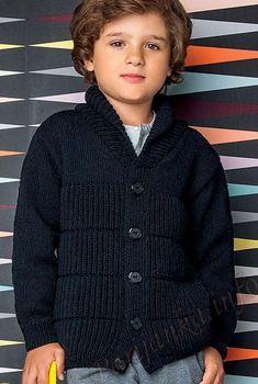 Kardigan () 20*116 Phildar №4461   ВЯЗАНИЕ ДЕТЯМ.   Postila Baby Boy Knitting Patterns, Baby Sweater Knitting Pattern, Crochet Baby Cardigan, Baby Hats Knitting, Knitting For Kids, Knit Crochet, Diy Crafts Knitting, Pull Bebe, Newborn Boy Clothes
