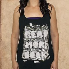 Read More Books - Women's tank - black - cotton - discharge inks