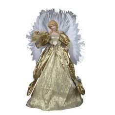 """Kurt Adler 16"""" Fiber Optic Angel Tree Topper. KJC2186 Features: Angel has long hair Dressed in a long light gold gown with a dark gold overlay all with lace and bead detailing She has large white, multi-layered wings with fiber optic strands in the back. Price: $85.99"""
