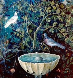 Fresco, garden painting with two birds, Pompeii.
