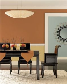 Modern Dining Room Upper Wall Color Masada Lower Citrine