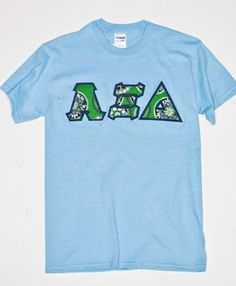 Alpha Xi Delta lettered shirt in Green Cupcake Vera Bradley print