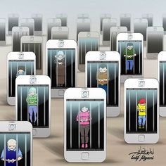 xx-illustrations-satirical-revealing-how-the-technology-has-taken-the-control-d . xx-illustrations-satiriques-revelant-comment-la-technologie-a-pris-le-controle-d… Satire, Technology Addiction, Social Media Art, Satirical Illustrations, Meaningful Pictures, Digital Technology, Technology Posters, Technology News, Thought Provoking