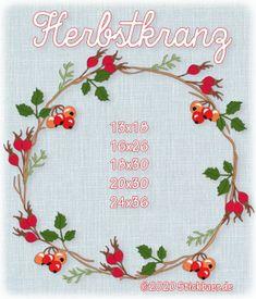 Der Stickbär | Herbstkranz | Stickmuster mit Herz Wreaths, Home Decor, Rowan, Stitching Patterns, Crown Cake, Heart, Homemade Home Decor, Deco Mesh Wreaths, Interior Design