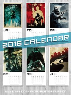 VIDEOGAME CALENDAR 2016 Movie calendar Wall Art by PosterInvasion