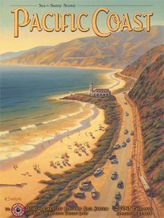 PACIFIC COAST CALIFORNIA / OCEAN - ART DECO BEACH POSTER