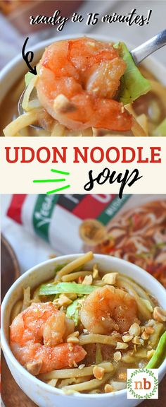 Nothing but tender shrimp, beautiful noodles, and a flavorful broth in this favorite noodle soup! Udon Noodle Soup, Udon Noodles, Shrimp Noodles, Noodle Recipes, Soup Recipes, Natural Peanut Butter, Homemade Soup, How To Cook Shrimp, Ground Beef