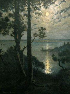 ✨  Adolphe Irénée GUILLON (1829-1826) - Nuit d'hiver à Cannes, 4e quart 19e siècle ::: Winter Night at Cannes, France, 4th qu. 19th c.
