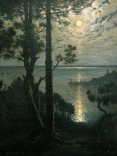 """Adolphe Guillon (French, 1829-1897) - """"Winter night, Cannes"""" (late 19th century)"""