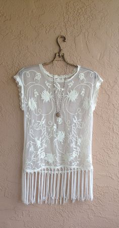 Bohemian sheer embroidered lace with fringe tunic