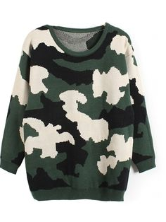 Loose Round Collar Long Sleeve Camouflage Sweater