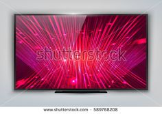 Modern TV with Technology Screen LCD Isolated. LED Wide Display. Can Use for Template Presentation or Branding Product. Electronic Gadget, Device Mockup. Stylish Television. Vector Illustration EPS10.