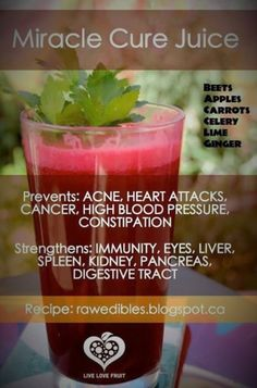 Miracle Cure Juice : This refreshing and healing drink is said to help with a variety of issues in the body, and is also thought to help regenerate cells; infusing them with nutrients in a fast, efficient manner. Prevents : Acne, Heart Attacks, Cancer, High Blood Pressure, Constipation. Strengthens : Immune System, Eyes, Liver, Spleen, […]