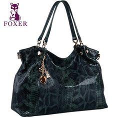 FOXER  Leather Handbag Snakeskin Design