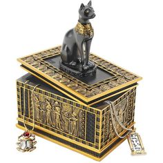 View our Royal Bastet Egyptian Box. Royal Bastet Egyptian BoxThe royal cat goddess sits atop a sarcophagus laden with elaborate Egyptian imagery in this hand-painted, quality designer resin work of decorative art created exclusively for Toscano. Anubis, Egyptian Home Decor, Egyptian Furniture, Egyptian Decorations, Decorative Accessories, Decorative Boxes, Objets Antiques, Obelisk, Egyptian Cats