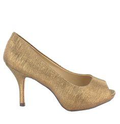 Zapato Peep Toe en Dorado Oscuro. Esencial para cualquier ceremonia, fiesta u ocasión especial. Ref.5990 //Dark Golden Peep Toe shoe. Essential for any ceremony, party or special occasion. Ref.5990