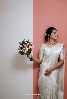 Christian Wedding Dress, Christian Bridal Saree, Christian Bride, White Saree Wedding, Kerala Wedding Saree, Green Wedding, Bridal Sarees South Indian, Indian Bridal Fashion, Unusual Wedding Dresses