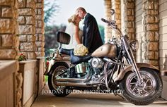 Bringing something of the grooms (Harley Davidson Motorcycle)  for photos really gets them excited to shoot!