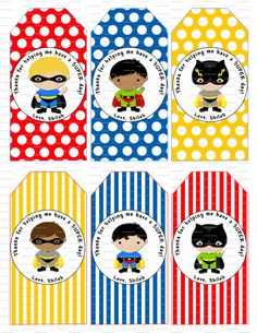 Super Hero Birthday Party Favor Tags