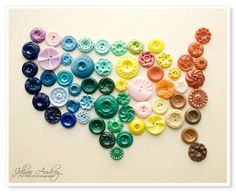 Perfect idea for all of your old buttons: Create a #DIY map of #America! Via @Hannah Mestel Lynde