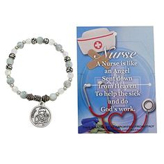 af3d9d17a79 Amazon.com: Rosemarie Collections Women's Nurse Appreciation Beaded Stretch  Bracelet with Angel Medal: Jewelry