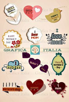 Mother's Day Clip Art - I Love Mom Clipart - Hearts Design Elements - PNG Transparent Images