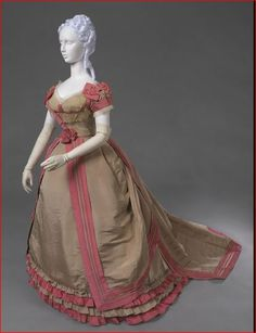 1867-1870 Charles Frederick Worth, Taupe Silk Evening Dress with Rose Silk Trimmings, Paris.