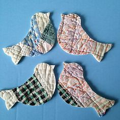 Birds cut from old quilt blocks; picture via Ebay