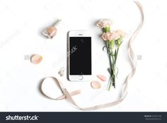 Stylized Feminine Flatlay With Nail Polish, Flowers, Petals, Ribbon And Smart Phone Mock Up Isolated On White Top View. Woman Accessories From Above Stock Photo 552814720 : Shutterstock
