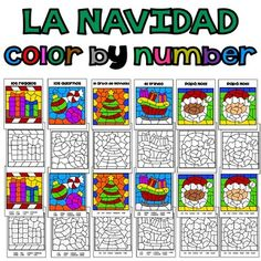 Spanish Christmas / La Navidad This color by code product includes 3 different pages that can be used with a variety of levels.Great to practice colors in Spanish! You will get: 5 color by number pages 5 blank pages 5 answer sheets 5 posters or pages to decorated your