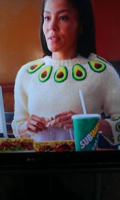 I always think of this board when I see this commercial...lol   ~ Avocado Sweater in Subway Commercial   ;)