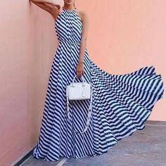 31c9245b60 Fashionable Printed Stripe Maxi Dress