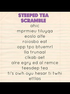 Steeped Tea scramble game