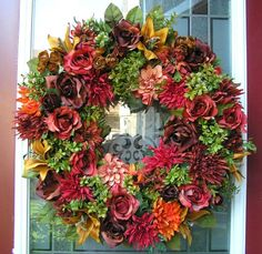 Sensational Fall Autumn Silk Floral Arrangement Door Wreath Wall Decor | eBay