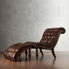 Bellagio Button Tufted Leather Brown Chaise