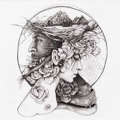 Artist Christina Mrozik closely observes flora and fauna to create hybrid drawings and paintings that unite the two in haunting new forms. Tattoo Artwork, Tattoo Drawings, Art Drawings, Drawing Sketches, Pencil Drawings, Illustration Tumblr, Pen Art, Art Sketchbook, Dark Art
