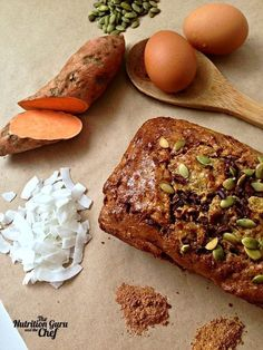 Sweet Potato and Coconut bread recipe gluten free, paleo Gluten Free Baking, Gluten Free Desserts, Healthy Baking, Healthy Treats, Gluten Free Recipes, Bread Recipes, Cooking Recipes, Chicken Recipes, Healthy Recipes