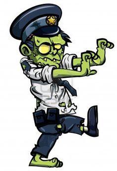 Cartoon zombie policeman isolated on white Stock Photo