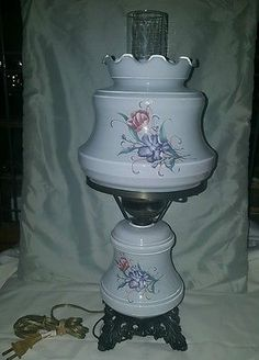 3 Way Table Top Parlor Lamp with Lavender/Orange Flowers