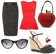 Polka dot skirt and apple bag