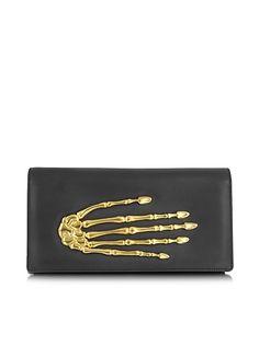 Bernard Delettrez Black Nappa Leather Pochette w/Skeleton Hand
