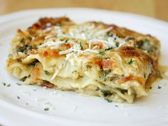 This variation on traditional lasagna is full of chicken and vegetables, with savory thickened chicken broth and mozzarella cheese