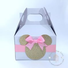 Pink and Gold Minnie Mouse Favor Boxes (Set of 10)   Minnie Gable Box   Pink Minnie Box   Pink Bow   Favor Bag   Birthday Party Treat Boxes